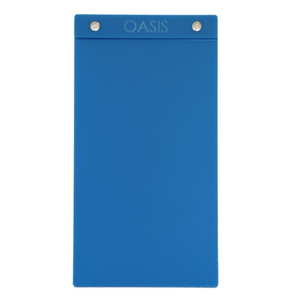 "Acrylic Menu Board with Screws 5.5"" x 11"" in Light Blue with laser engraved logo."