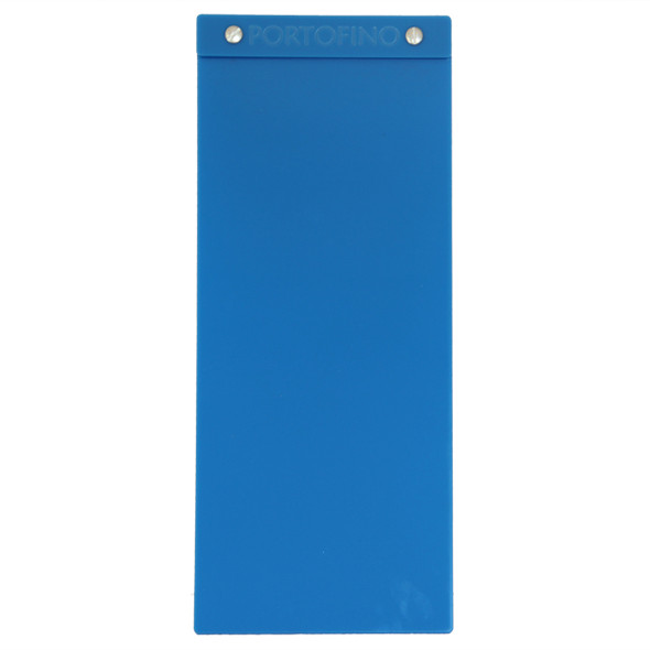 """Acrylic Menu Board with Screws 5.5"""" x 14"""" in Light Blue with laser engraved logo."""