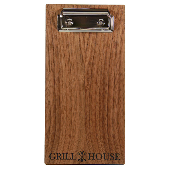 Walnut wood check presenter with flat clip.