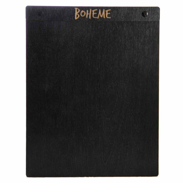 "Baltic Birch Wood Menu Board with Screws 8.5"" x 11"" in black stain with black screws."