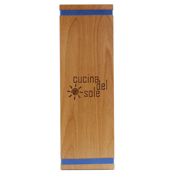Solid Alder Wood Menu Board with Bands 4.25 x 14 with blue bands and laser engraved logo