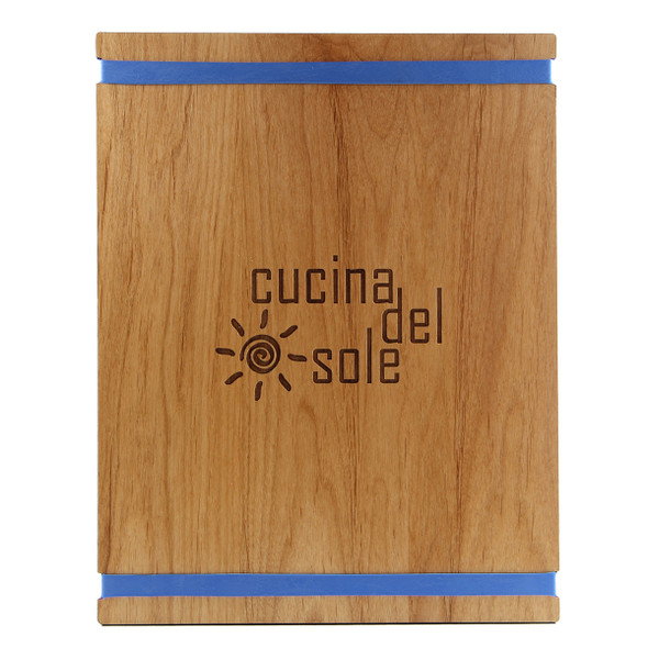 Solid Alder Wood Menu Board with Bands 8.5 x 11 with blue bands and laser engraved logo