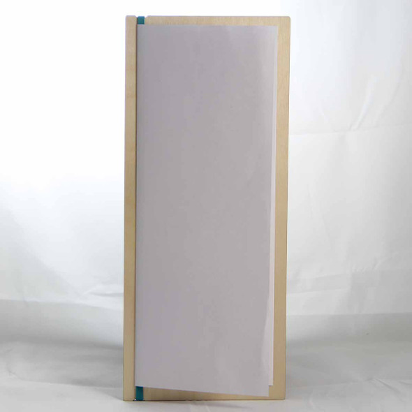 """Baltic Birch Wood Menu Board with Vertical Band 4.25"""" x 11"""" in natural finish with off white rubber band and menu insert page (8.5"""" x 11"""" folded to 4.25"""" x 11"""")"""