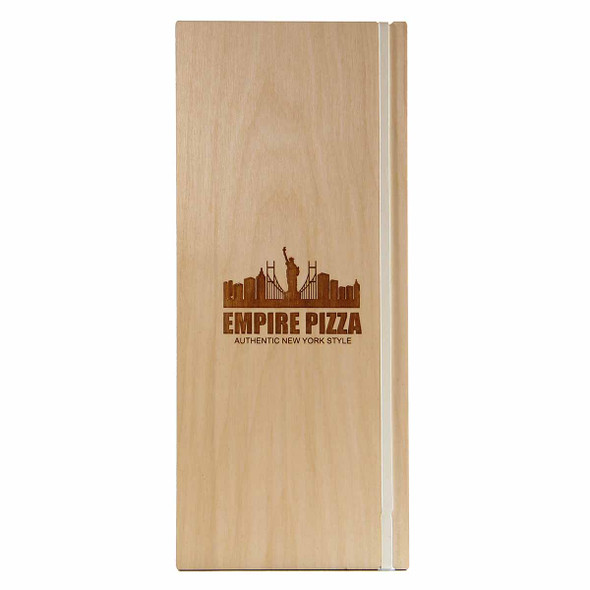 """Baltic Birch Wood Menu Board with Vertical Band 4.25"""" x 11"""" in natural finish with off white rubber band and laser engraved logo"""