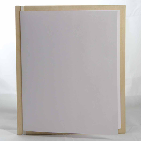 """Baltic Birch Wood Menu Board with Vertical Band 7"""" x 8.5"""" in natural finish with off white rubber band and menu insert page (8.5"""" x 14"""" folded to 7"""" x 8.5"""")"""
