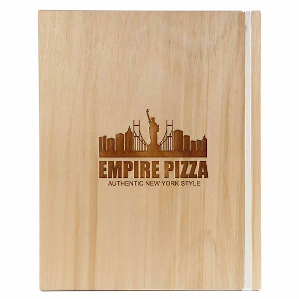 """Baltic Birch Wood Menu Board with Vertical Band 7"""" x 8.5"""" in natural finish with off white rubber band and laser engraved logo"""