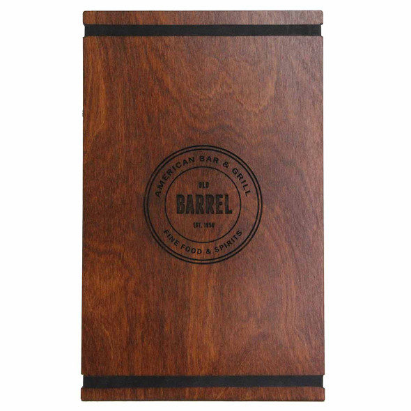 Baltic Birch Menu Board with Bands 8.5 x 14 in nutmeg stain with black rubber bands and laser engraved logo