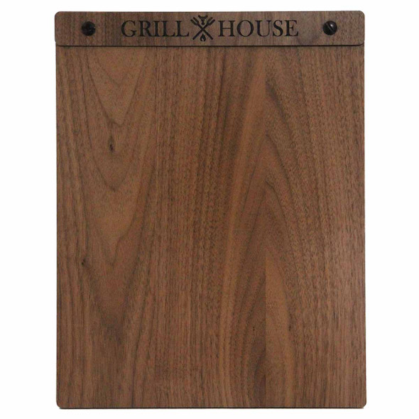 Solid walnut wood menu board with screws 8.5 x 11