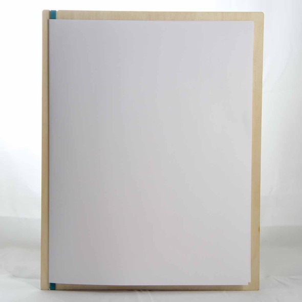 """Baltic Birch Wood Menu Board with Vertical Band 8.5"""" x 11"""" in natural finish with rubber band and menu insert page (11"""" x 17"""" folded to 8.5"""" x 11"""")"""