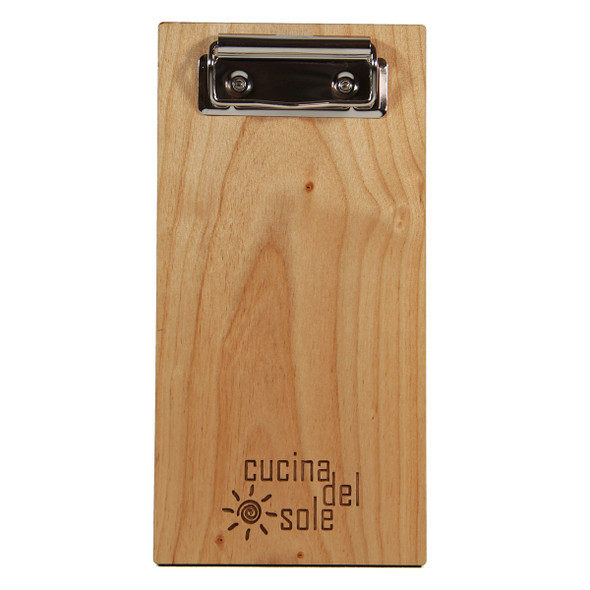Alder wood check presenter with flat clip.