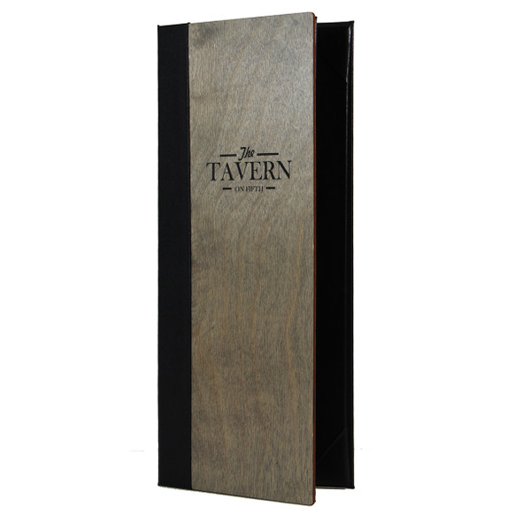 Baltic Birch Two View Menu Cover 4.25 x 11 shown in driftwood finish with a delano black interior and engraved logo.