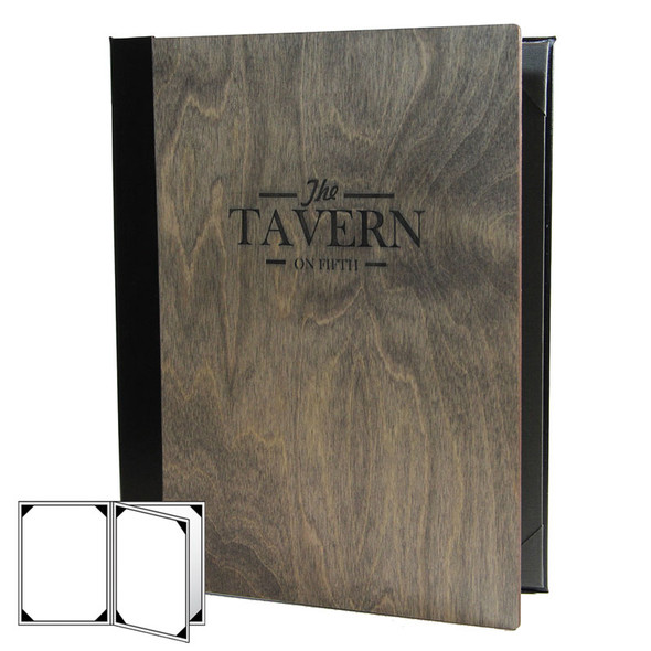 Baltic Birch Four View Menu Cover shown in driftwood finish with laser engraved logo.