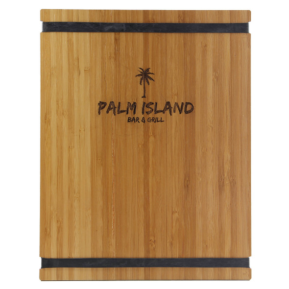Bamboo Menu Board with black bands and laser engraved logo.