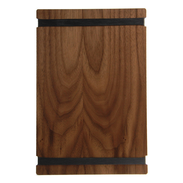 Solid walnut wood menu board with black bands 5.5 x 8.5 back view.