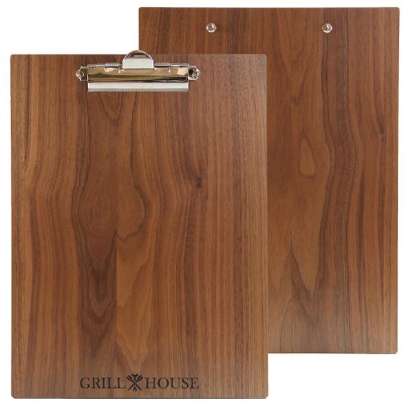 Solild walnut wood menu board with clip.
