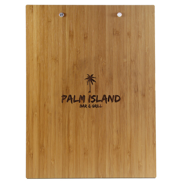 Bamboo Menu Board with Clip Back View