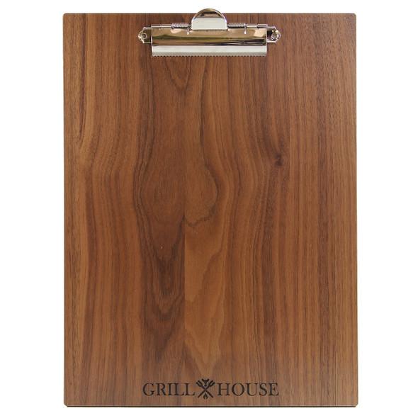 Front view of walnut wood menu clipboard.