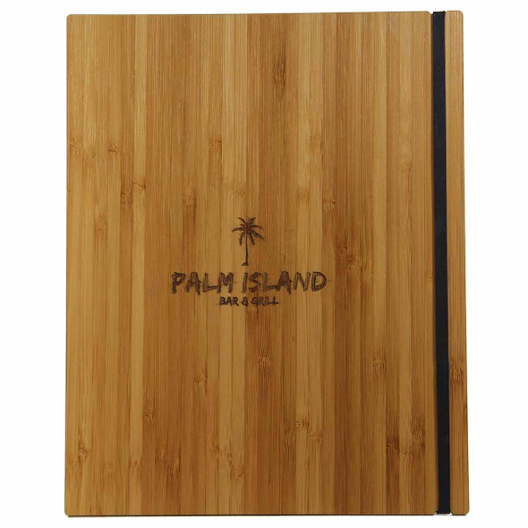 Bamboo Menu Board with Vertical Band and laser engraved logo