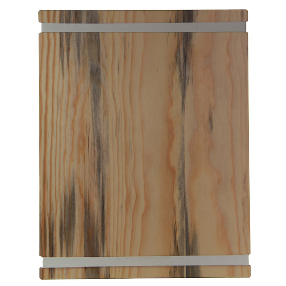 Blue Pine Wood Menu Board with Bands back view.