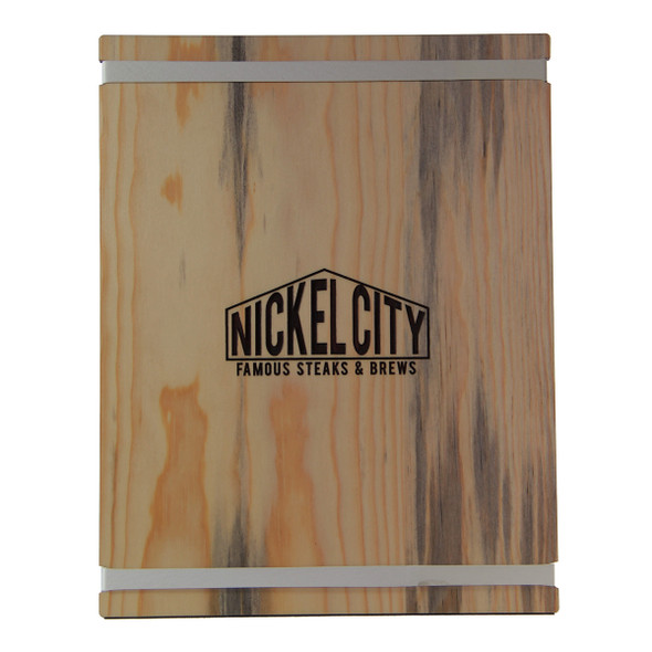 Blue Pine Wood Menu Board with Bands.  Photo shows white bands and laser engraved logo.