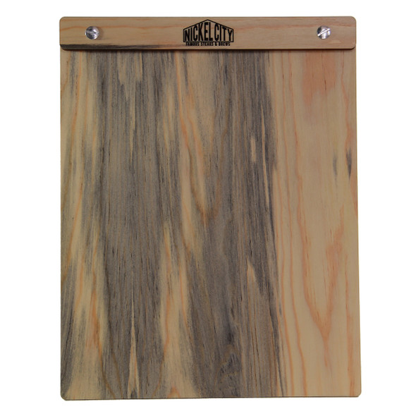 Front view of Blue Pine Menu Board with Screws