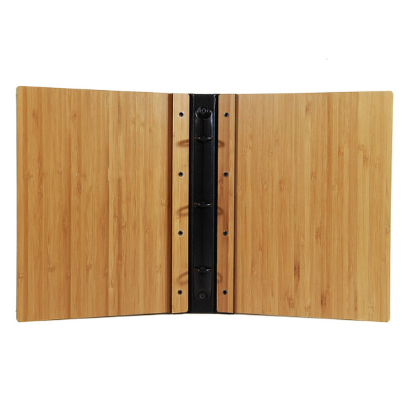 Riveted Bamboo Wood Three Ring Binder 5.5 x 8.5 interior.