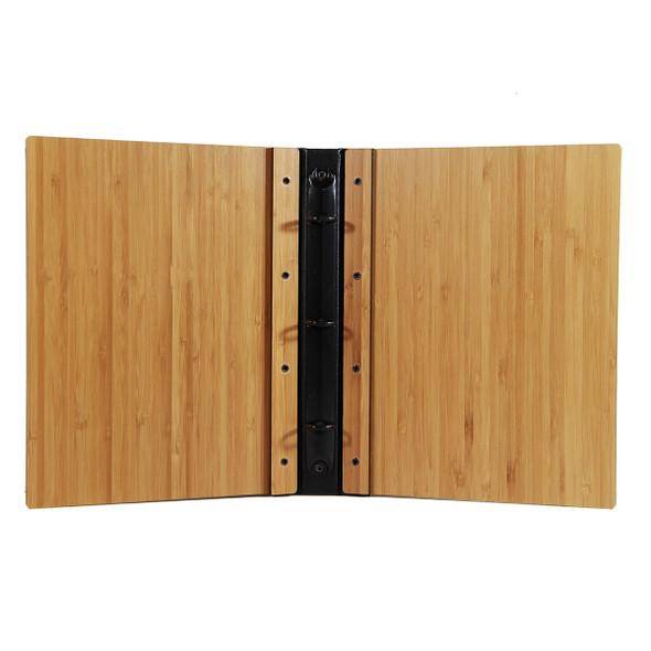 Riveted Bamboo Wood Three Ring Binder 5.5 x 8.5 interior.