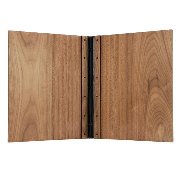 Riveted Walnut Wood Screw Post Menu Cover Interior