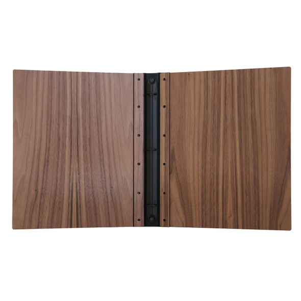 Riveted Walnut Wood Three Ring Binder Interior