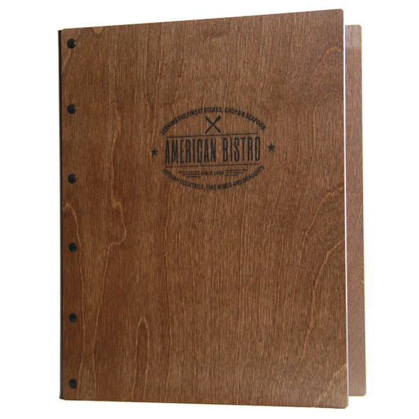 Riveted Baltic Birch Wood Screw Post Menu Cover  in walnut stain with engraved logo.