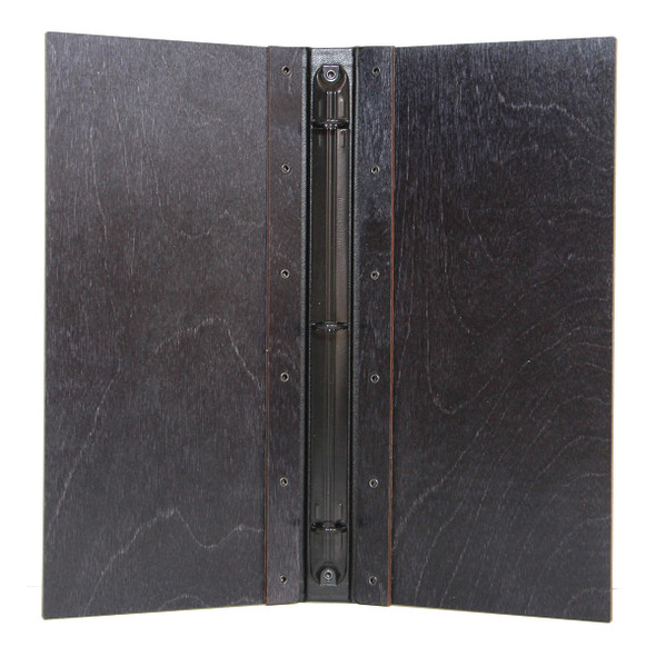 Riveted Baltic Birch Wood Three Ring Binder shown in lblack stain with black mechanism.
