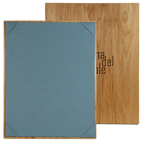 Solid Alder Wood One View Menu Board with blue twine diploma corner panel.