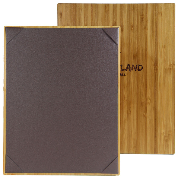 Bamboo One View Menu Board with french roast diploma corner panel.