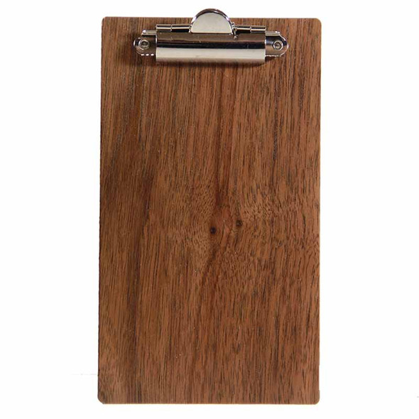 "Walnut Wood Check Presenter with Clip 4"" x 7"" Front View"