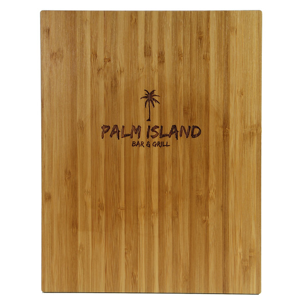 Back view of bamboo one view menu board with laser engraved logo.