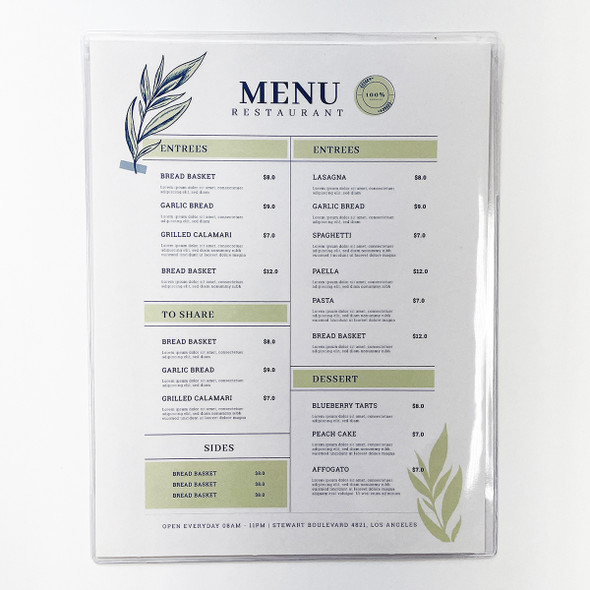 All Clear Two View Menu Cover 8.5 x 11 made with a heavier 14 gauge gloss vinyl.
