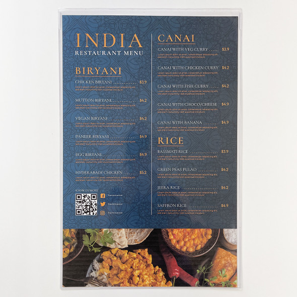 All Clear Two View Menu Cover 11 x 17 made with a heavier 14 gauge gloss vinyl.