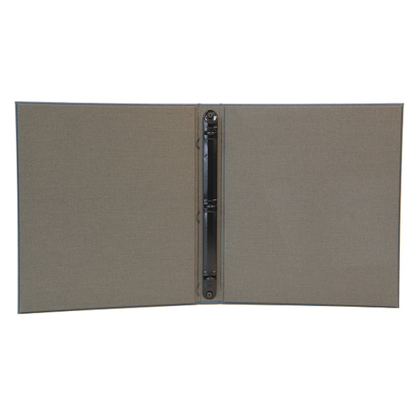 """Interior of Cambridge Linen Three Ring Binder with a linen pewter interior and 1/2"""" black binder mechanism."""