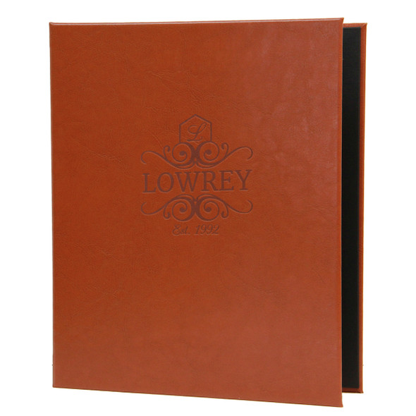 Tavern Screw Post Menu Cover in medium brown with a burnished logo.