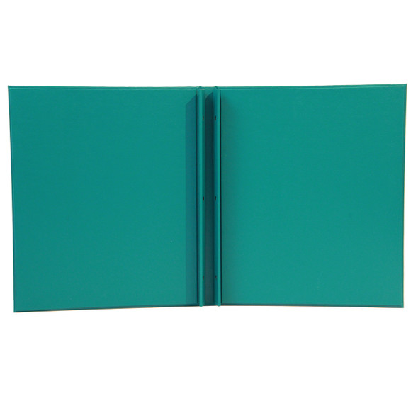 Interior of Summit Linen Screw Post Menu Cover in teal.