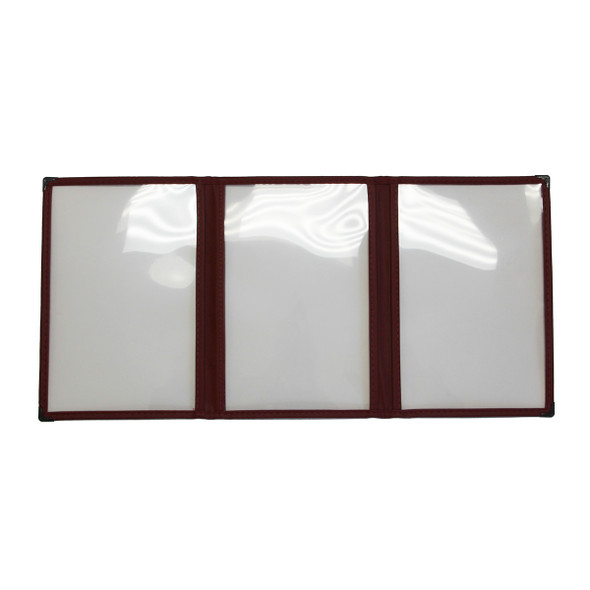 Interior of Sewn Three Panel Six View Foldout Menu Cover 5.5 x8.5 in burgundy leatherette.
