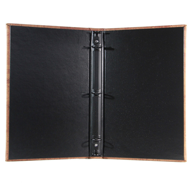 "Cork Look Three Ring Binder 5.5"" x 11"" with delano black interior and 1/2"" black mechanism."