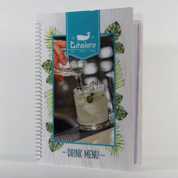Printed Spiral Menu with Pockets 5.5 x 8.5