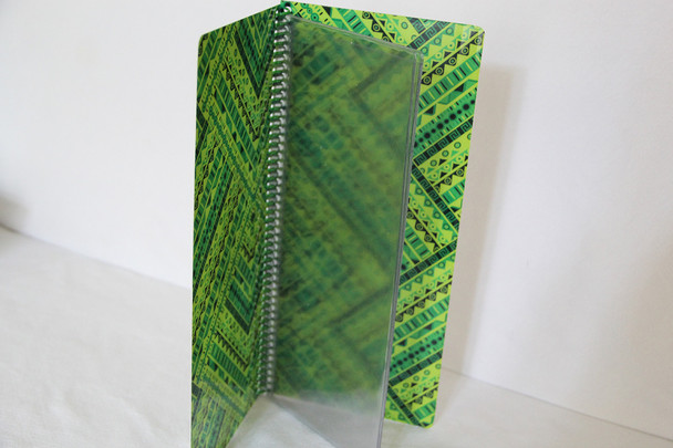 "Printed spiral menu with pockets 4.25"" x 11"" can accommodate up to 12 pockets for 24 views."