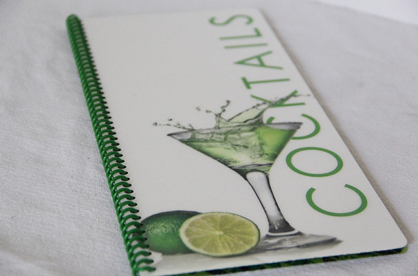 "Printed spiral menu with pockets holds 4.25"" x 11"" menu inserts."