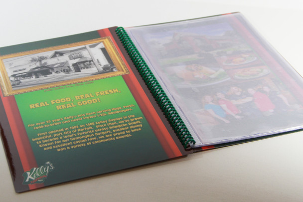 """Printed Spiral Menu with Pockets 7"""" x 11"""" Open View"""