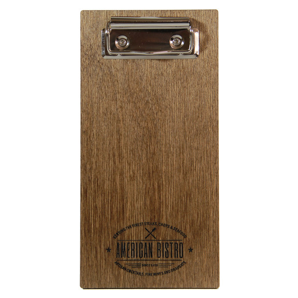 Baltic birch wood check presenter with flat clip in walnut stain.