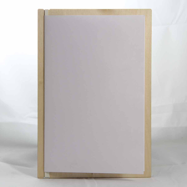"""Baltic Birch Wood Menu Board with Vertical Band 5.5"""" x 8.5"""" in natural finish with off white rubber band and menu insert page (8.5"""" x 11"""" folded to 5.5"""" x 8.5"""")"""