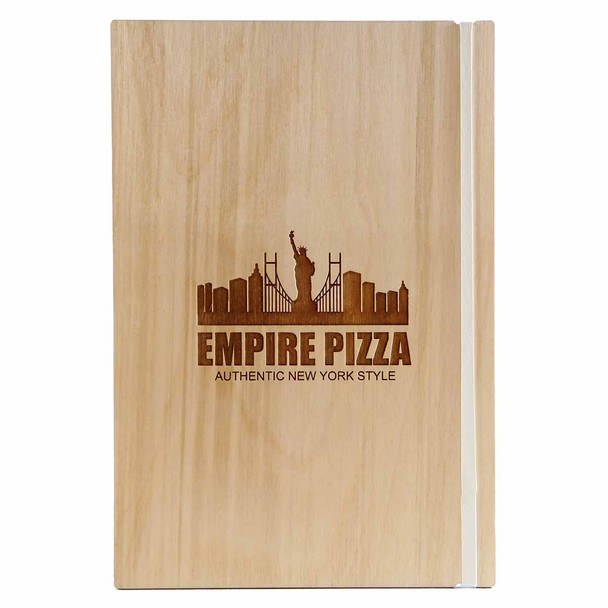 """Baltic Birch Wood Menu Board with Vertical Band 5.5"""" x 8.5"""" in natural finish with off white rubber band and laser engraved logo"""