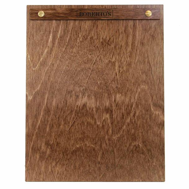 "Baltic Birch Wood Menu Board with Screws 8.5"" x 11"" in walnut stain with gold screws."